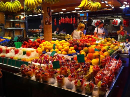 A stall in La Boqueria Market.