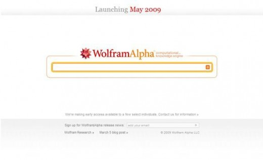 A screen-shot of the Wolfram Alpha homepage on 16th March 2009 (prelaunch).