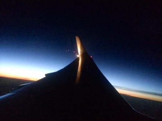 Airplane Wing at Night