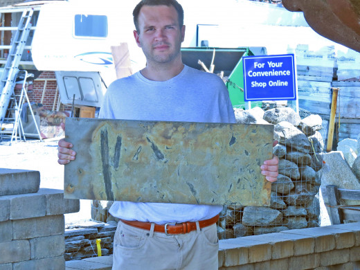 Here I am holding a bluestone with its natural grain.