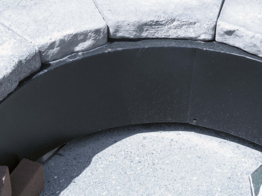 Metal liner to protect stone enclosure from fire and heat.