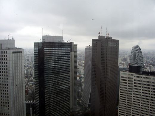 Seeing the tops of Tokyo's tall skyscrapers (including the top of Cocoon Tower on the right).