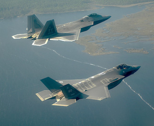 USAF F-22A (top) and USMC F-35B (bottom) Stealth Fighters