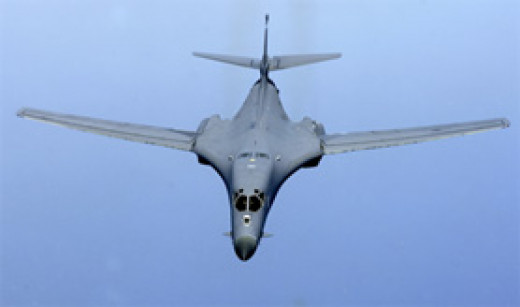 A non-stealthy supersonic bomber, the USAF's B-1Bs could drop massive loads of GPS-guided bombs.