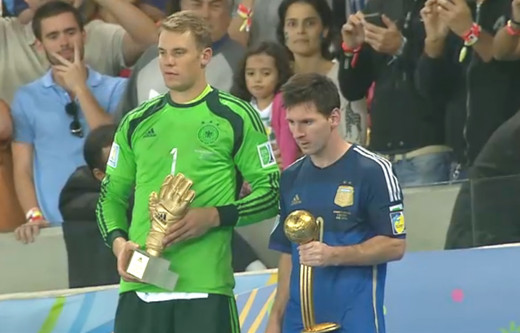 Manuel Neuer won the Golden Glove. Lionel Messi won the Golden Ball.
