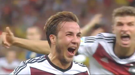 Mario Gotze celebrates scoring in the World Cup final.