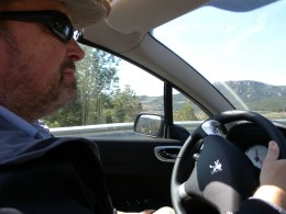 Gary driving round and round and round the round about.
