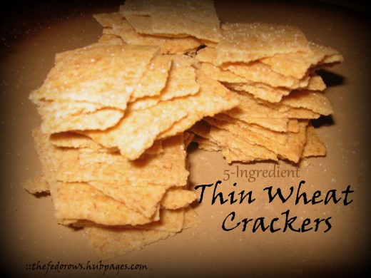 Make your own thin wheat crackers at home with 5 ingredients!  For this recipe you'll need wheat germ, flour, salt, oil, and water.  A basic recipe that can be modified easily.