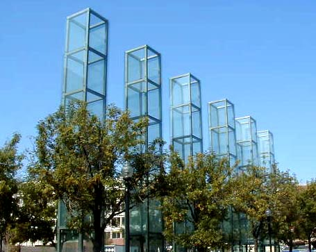 New England Holocaust Memorial, showing the six glass towers. Six towers: 6 million Jews killed; 6 major death camps; 6 years of extermination, 1939-1945