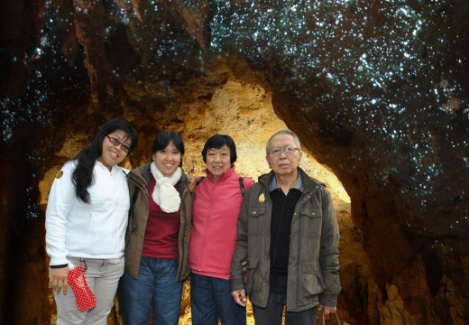With the Glow worms at Waitomo Caves
