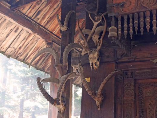 A wall of the Hidimba Devi Temple with hanging skulls of sacrificed buffaloes.