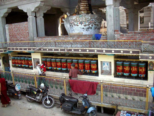 Stupa & prayer wheels. Main street, McLeod Ganj