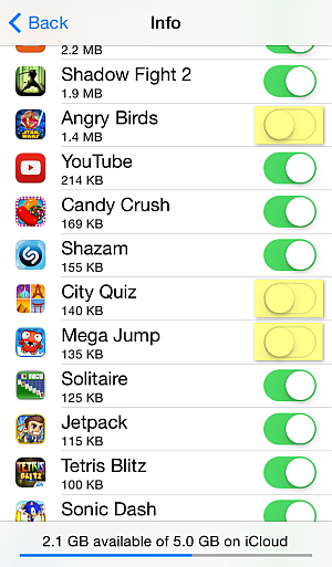 Backup selected apps and games to iCloud