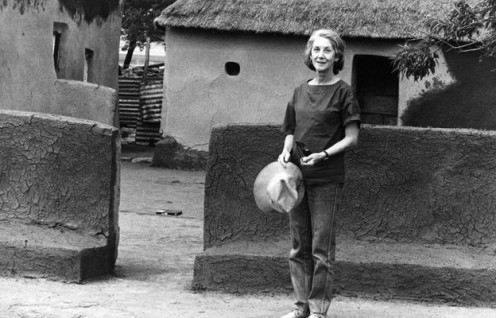 Gordimer in a South African village.
