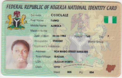 ID card for Nigerian Visa scam artist.