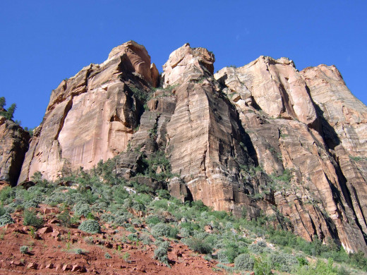 A mountain range along the exit road of Zion National Park.