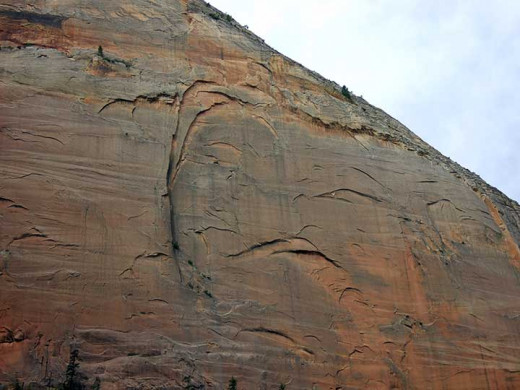 "The ""Smiling Woman"" cliff face.  Note the two eye lids and the mouth making a crooked smile."