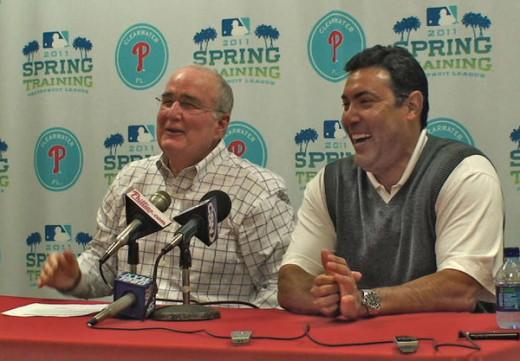 Phillies President Dave Montgomery and GM Ruben Amaro Jr.