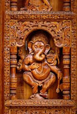 Wood caring in Hindu temple in Himachal Pradesh