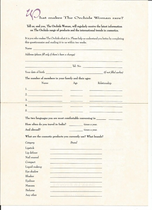 Response Device In The Form Of Questionnaire- Note The Easy To Fill Form