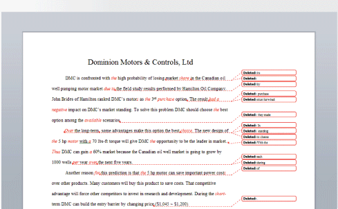 In Word, editors can make comments as to mistakes they find or questions they have