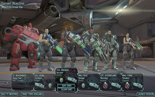 The XCOM soldiers, each outfitted with armor and plasma weapons.