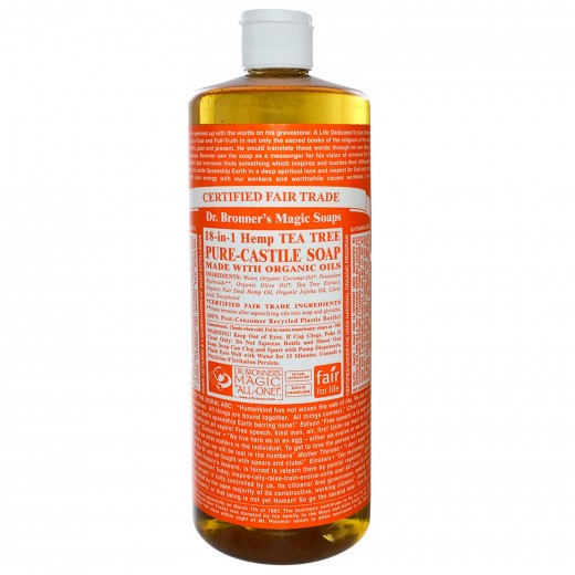 Dr. Bronner's Tea Tree Liquid Castile Soap to make homemade body wash, face wash, shampoo & conditioner All-In-One