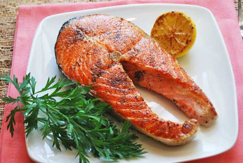 Salmon contains a lot of protein and healthy fat.