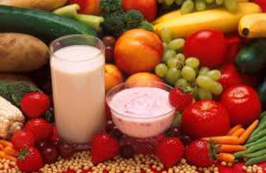 Fruits vegetables milk and yogurt