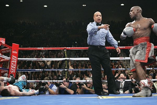 Floyd Mayweather knocked the undefeated Ricky Hatton out in the tenth round in defense of his welterweight crown.