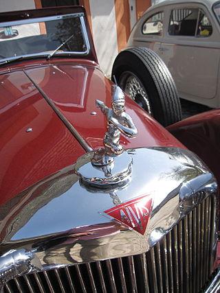 Hood ornament on a classic Alvis car.