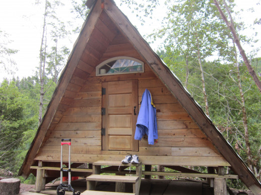 """Our home for 5 days. A 10 ft by 10 ft  """"A"""" frame log cabin."""