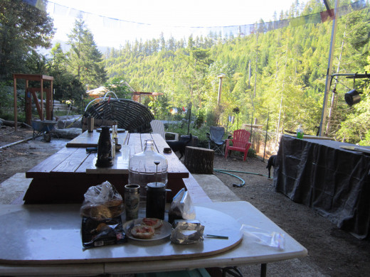 Breakfast in the wilds. Mountain view in the open air kitchen and breakfast table.My breakfast: onion bagel,cream cheese, smoked salmon lox slices, freshly brewed French pressed Peet's coffee.It doesn't get any better than this.
