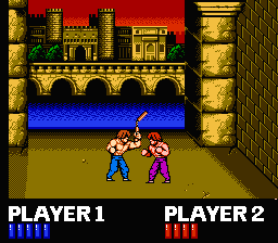 Mode B Action! The Only 2 Player Part of the Game. When You Do The Move With the Nunchucks Pictured Here, It's Basically Impossible to Hit The Other Player. In Other Words, Technos Clearly Spent a Long Time Developing Mode B.