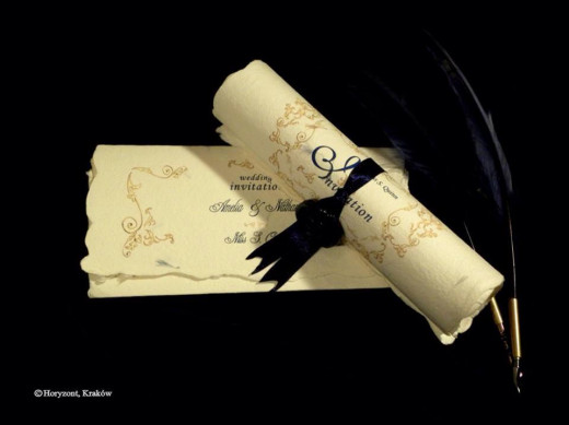 Baroque invitations - folded and scrolled