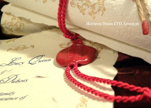 Red Wax Seal with customed red rope (on a Baroque invitation)