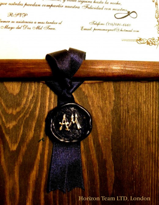 Customised Navy Blue Wax with Gold Initials on a Navy Blue Ribbon