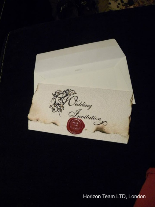 Old English invitation with wax seal and Fabriano envelope