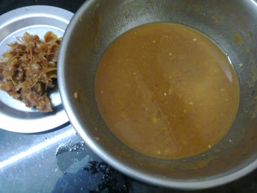 tamarind pulp juice after extracting waste