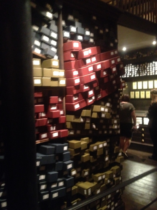 The wands of Ollivander, stacked from floor to ceiling.