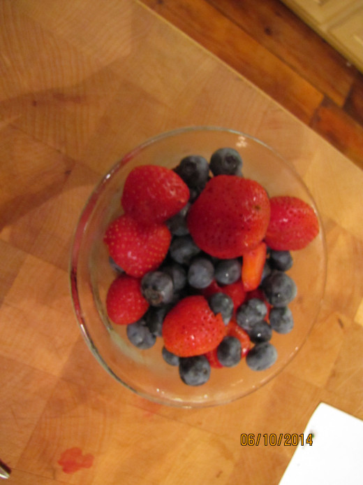My strawberries with blueberries from my neighbor - the best breakfast!