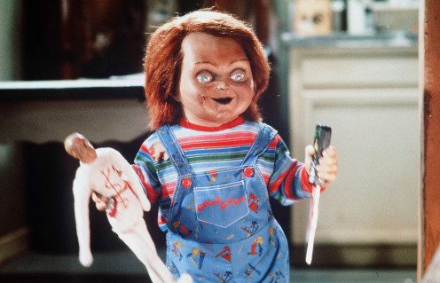 Chucky is seen here about to inflict pain using a voodoo doll in the original Child's Play.