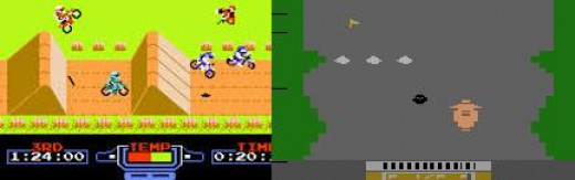 Excitebike (Left) Kicked All Kinds of Butt in Comparison to the Motorcycle Games That Came Not Long before It, Such as the One Pictured (Left) from the Atari 2600. Man, That Atari Game Looks like Wet, Hairy Ass. Yuck.