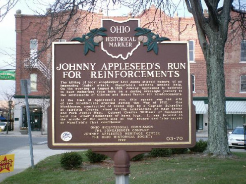 Johnny rode a horse from Mansfield to Mt. Vernon OH to secure help from the state and local militias in the War of 1812 - 1814.
