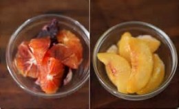 blood red oranges and peach slices