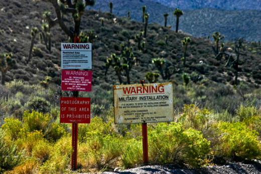 Warning signs put up around Area 51 to prohibit unauthorized entry.