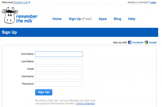 I like the simplicity of the Sign Up page.