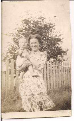 Jessie and her first-born son, my uncle, Kent, 1941-1942. This was nearly ten years after her flying career.