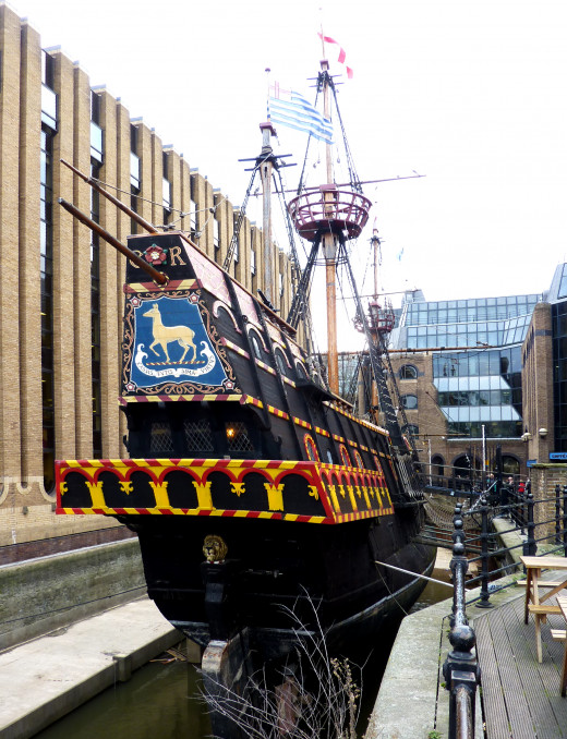 A replica of the Golden Hinde, the ship which circumnavifated the Earth.