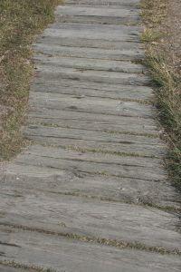 A sidewalk that was a wooden walkway